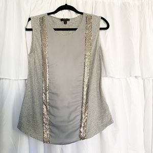 J. Crew Chain Mail Gray Dressy Tank Top Size Small